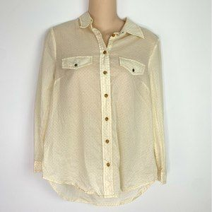 Maeve Anthro Yellow Polka Dot Button Front Blouse